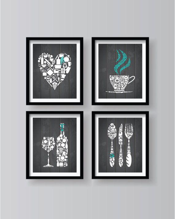 Gray Kitchen Decor, Gray Kitchen Wall Art, Gray White Kitchen .