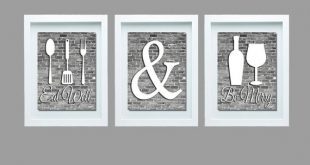 Gray And White Kitchen Wall Art Eat Well And Be Merry Print | Et
