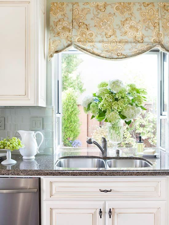 Kitchen Window Treatments | Kitchen window treatments, Kitchen .