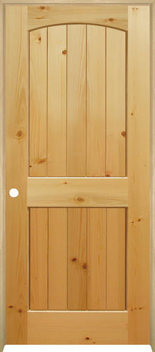Mastercraft® Knotty Pine Arched Plank 2-Panel Interior Door System .