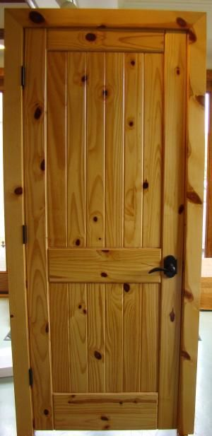 Two-Panel knotty pine door with vgroove planks | Wood doors .