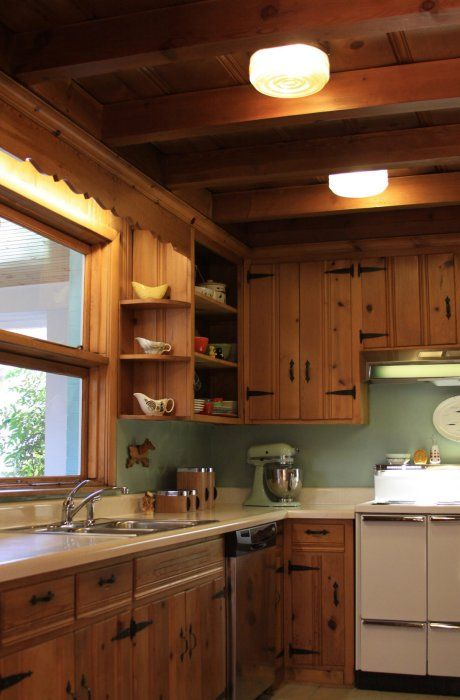 A knotty pine kitchen - respectfully retained and revived | Pine .