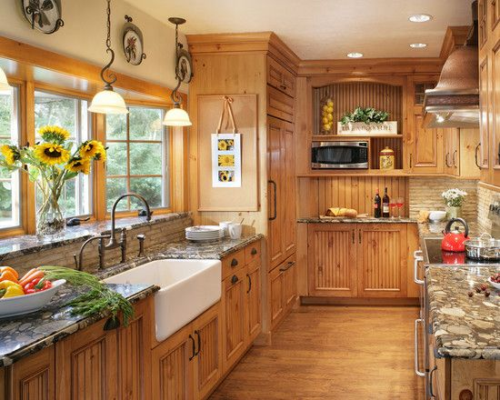 Decoration, Astounding Knotty Pine Kitchen Cabinets With Bowl Of .
