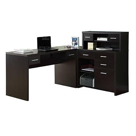 Monarch Specialties L Shaped Computer Desk With Hutch Cappuccino .