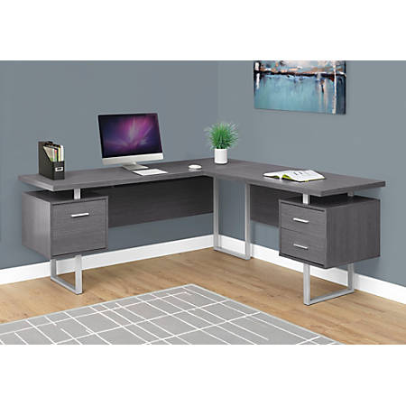 Monarch Specialties L Shaped Desk Gray - Office Dep