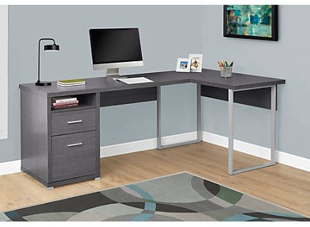 Monarch Specialties L Shaped Computer Desk With 2 Drawers Gray .