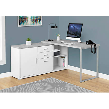 Monarch Specialties L Shaped Computer Desk With Cabinet Gray .