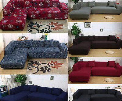 2Pcs Sectional Stretch Corner L-Shape Sofa Slipcover Couch Cover .