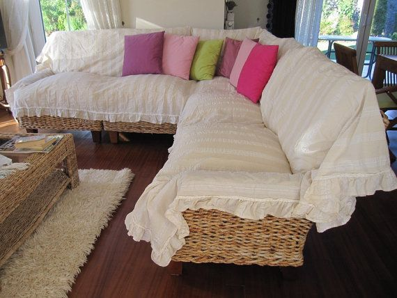 Sectional couch cover L shaped sofa throw covers ruffled .