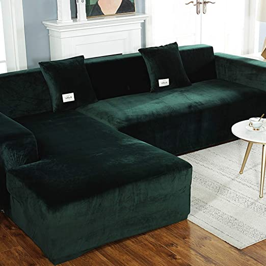 Amazon.com: XUELIAIKEE Plush L Shape Sofa Cover,Velvet Stretch .