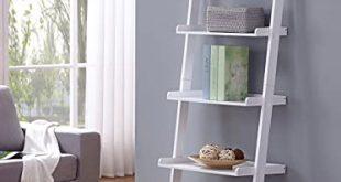 Amazon.com: White Finish 5 Tier Bookcase Shelf Ladder Leaning - 72 .