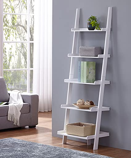 Amazon.com: White Finish 5 Tier Bookcase Shelf Ladder Leaning - 72 .