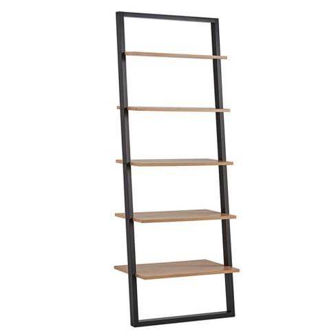 "73.6"" Portay Ladder Bookcase Two Tone Black/Oak Brown - Inspire Q ."