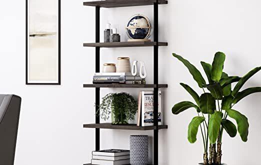 Amazon.com: Nathan James Theo 5-Shelf Wood Ladder Bookcase with .