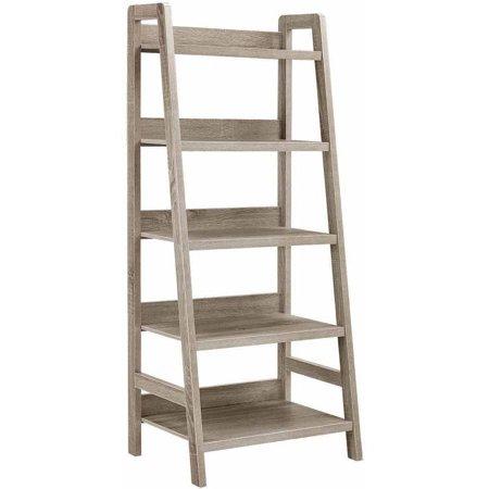 Linon Tracey Ladder Bookcase, Grey, 5 Shelves - Walmart.com .