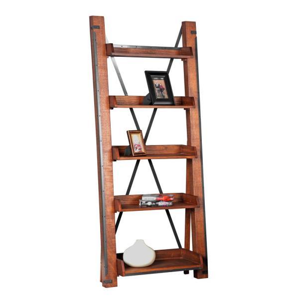 81 in. Hewn Pallet Wood 5-shelf Ladder Bookcase 1-33200K - The .