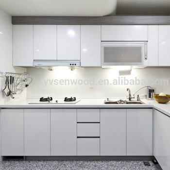 High Glossy Used White Laminated Kitchen Cabinet Door For Acrylic .