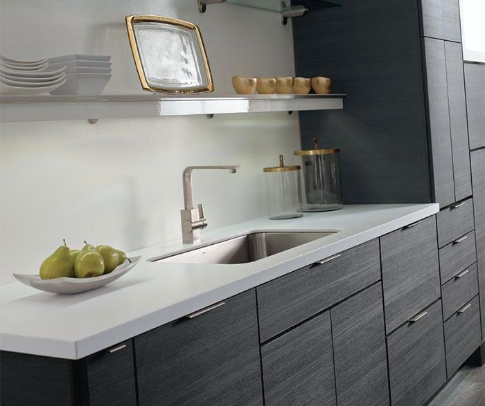 Contemporary laminate kitchen cabinets in woodgrain Obsidian .