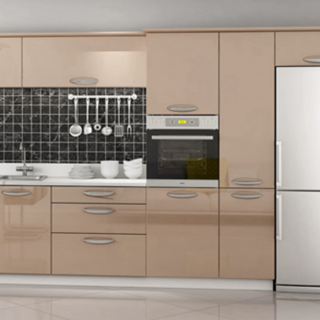 Champagne Color Acrylic High Gloss Painting Laminate Kitchen .