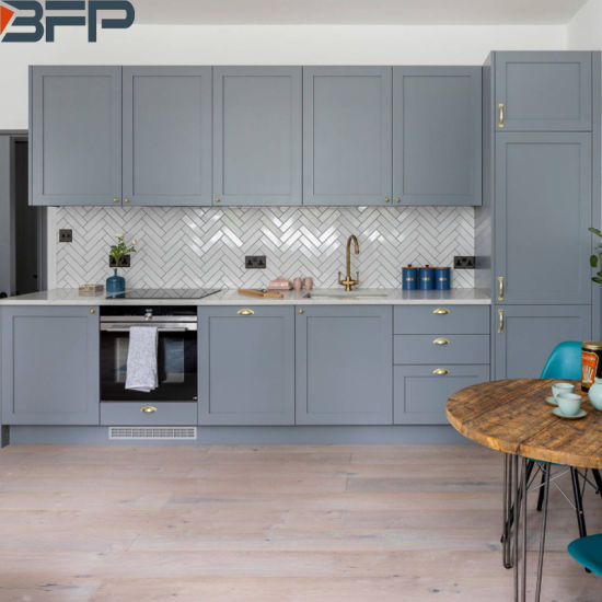 Small Eat-in Laminated Kitchen Cabinets Grey Chinese Furniture .