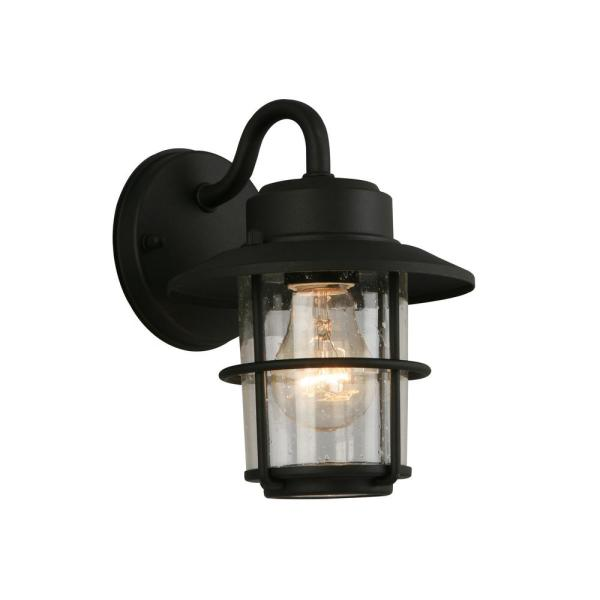 Hampton Bay 1-Light Black Outdoor Wall Lantern Sconce (2-Pack .