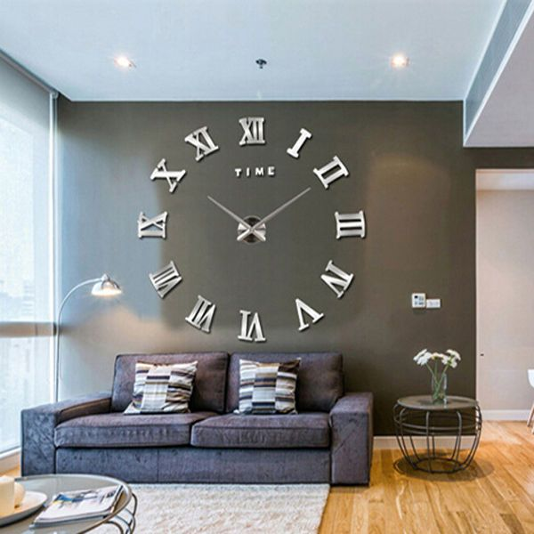 Luxury DIY Wall Clock 3D Roman Numerals Stickers Home Art Modern .