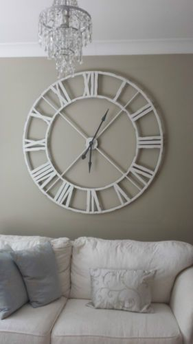 Extra-Large-Distressed-White-Metal-Roman-Numeral-Clock | Wall .