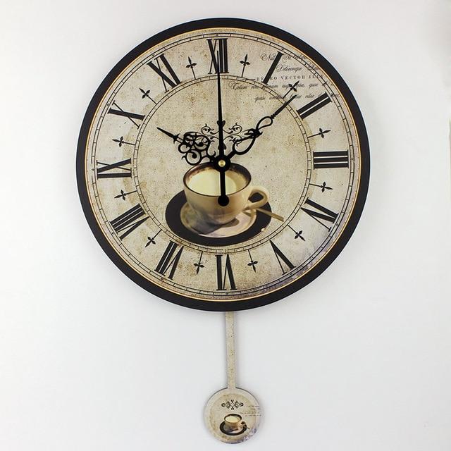 Modern coffee large decorative wall clocks mute Home decoration .