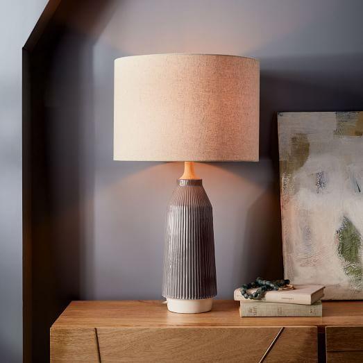 Roar + Rabbit Ripple Ceramic Table Lamp - Large Narrow (Warm Gray .