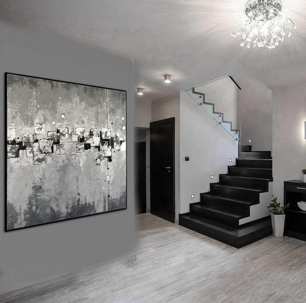 Abstract Painting Extra Large Wall Art Canvas Black And White .