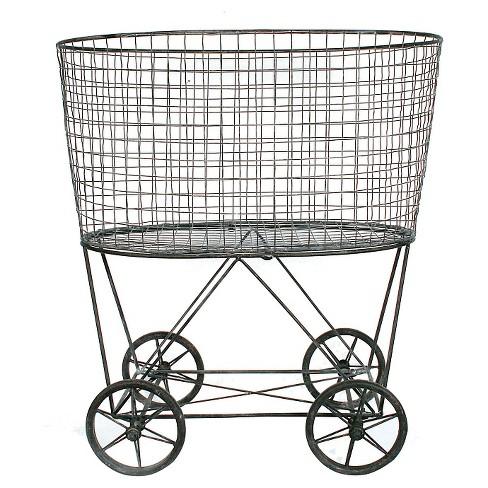 Metal Vintage Laundry Basket With Wheels : Targ