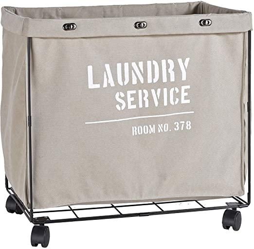 Amazon.com: Danya B. Army Canvas Laundry Hamper on Wheels, Canvas .