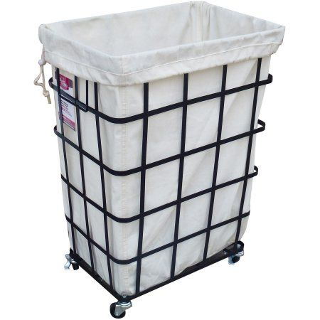 Better Homes and Gardens Rectangular Caged Hamper with Wheels .