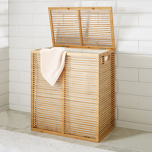 Bamboo Hamper - Zen Divided Bamboo Hamper | The Container Sto