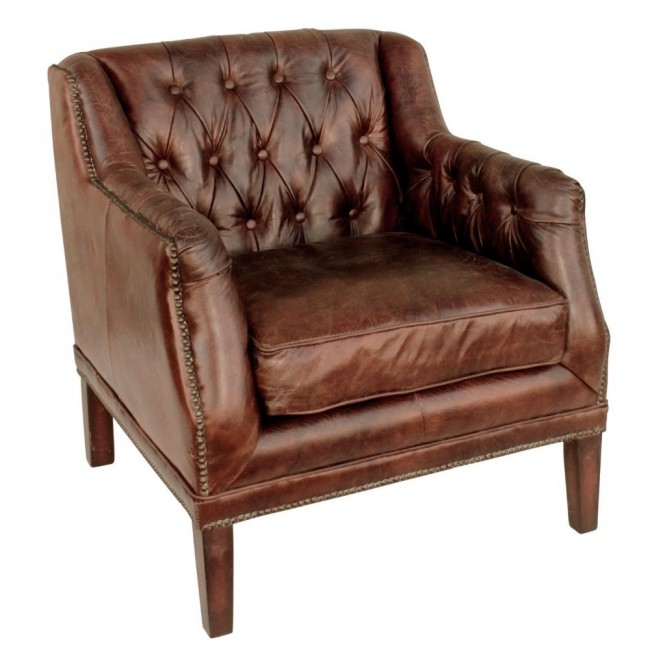 Cigar Leather Tufted Henry Cha