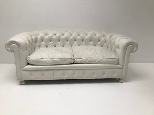 Vintage White Leather Chesterfield Sofa, 1980s for sale at Pamo