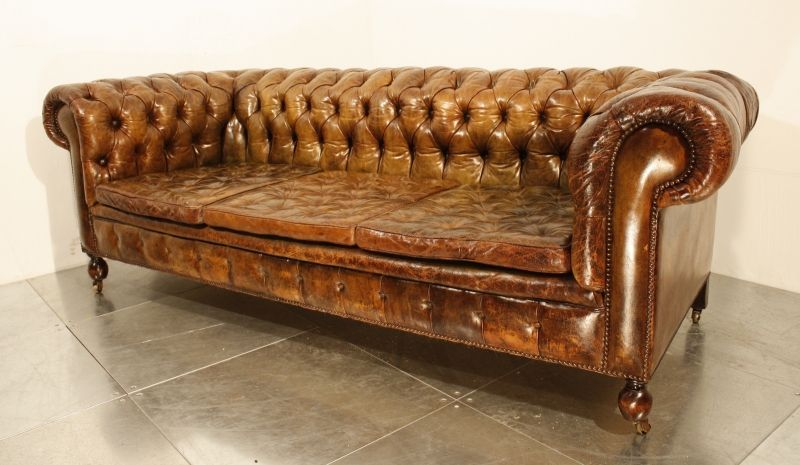 A vintage 1920's leather chesterfield sofa! | Vintage chesterfield .
