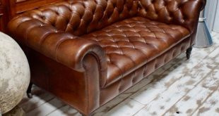 Antique Brown Leather Chesterfield Sofa for sale at Pamo