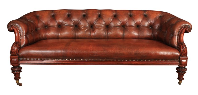 Antique Victorian Leather Chesterfield Sofa, 1860s for sale at Pamo