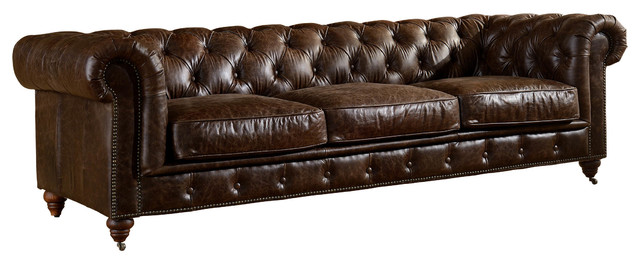Crafters and Weavers Top Grain Leather Chesterfield Sofa .