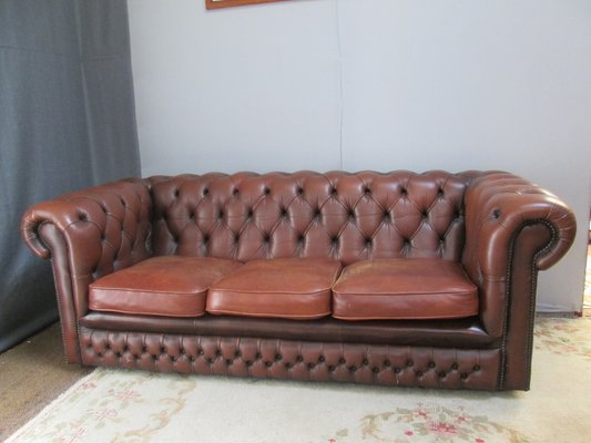 Vintage Brown Leather Chesterfield Sofa, 1980s for sale at Pamo