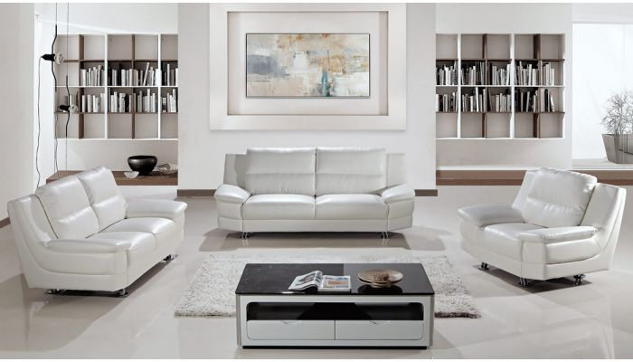 Morena Contemporary White Leather So