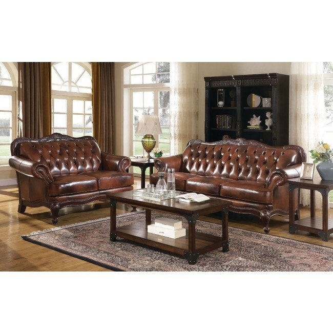 Victoria Leather Living Room Set Coaster Furniture | FurniturePi