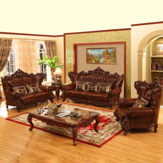 China Living Room Furniture Royal Leather Sofa in Optional Couch .