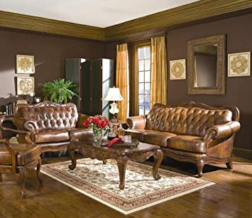Amazon.com: Wildon Home Valencia 3 Piece Leather Living Room Set .