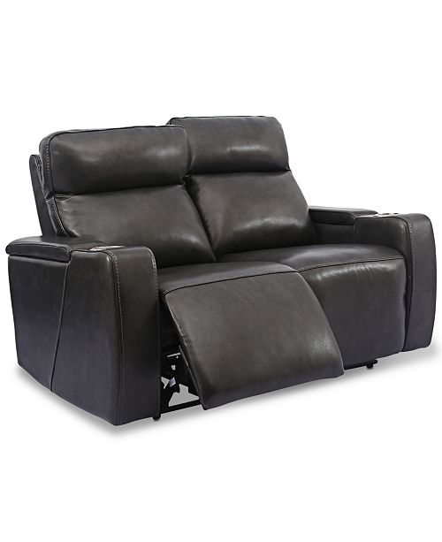 "Furniture Oaklyn 61"" Leather Loveseat With Power Recliners, Power ."