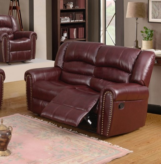 686 Burgundy Leather Reclining Loveseat With Nailhead Tr