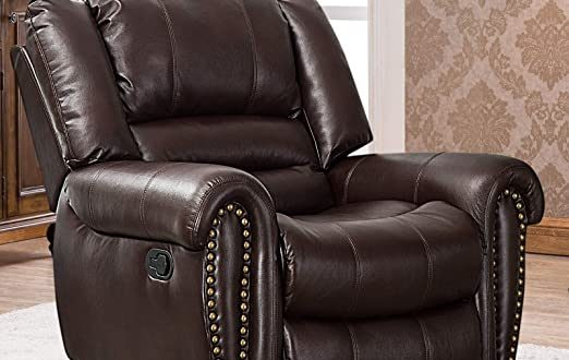 Amazon.com: CANMOV Leather Recliner Chair, Classic and Traditional .