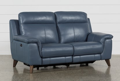 Moana Blue Leather Dual Power Reclining Loveseat With Usb | Living .