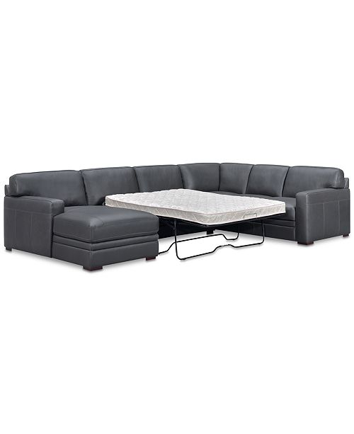 Furniture Avenell 3-Pc. Leather Sectional with Full Sleeper Sofa .